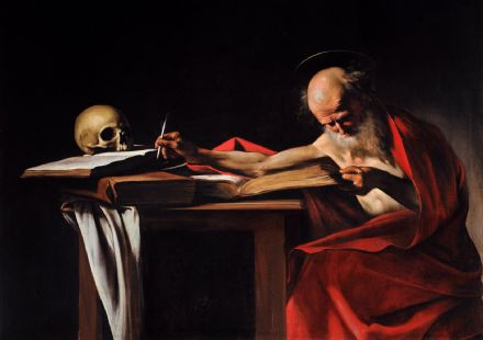 Caravaggio, Michelangelo Merisi da: Saint Jerome Writing. Fine Art Print/Poster. Sizes: A4/A3/A2/A1 (001486)